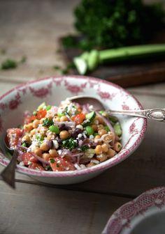 salade grecque, salade légumineuse, trois fois par jour salade, épinards, vinaigrette originales kale quinoa idées