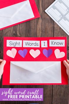 Are you on the hunt for some new and fresh sight word activities for Kindergarten? This easy Valentine Sight Word craft Sight Words, Sight Word Practice, Classroom Word Wall, Classroom Helpers, Classroom Ideas, Valentine Theme, Valentine Crafts, Valentine Stuff, Kindergarten Activities