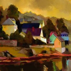 """Connie Hayes - """"Yellows at the Edge of Stonington"""", Oil on canvas, 36"""" x 36"""","""