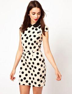White Short Sleeve Polka Dot Bodycon Dress -This would make a nice shirt... :)