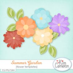 Daisies & Dimples Summer Garden CU [kimcameron_summergarden] - Create some summer flowers with these blooming templates! Includes a PSD and separate PNG layers for 5 flowers and a leaf. Commercial use ok!