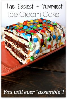 M&M Ice Cream Sandwich Cake - NO BAKING REQUIRED! This is the EASIEST and YUMMIEST dessert you will ever ASSEMBLE!!