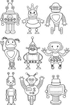 robot drawing for kids Arte Robot, Diy Robot, Robots For Kids, Art For Kids, Robots Robots, Robot Vector, Robots Drawing, Free Cartoons, Robot Design
