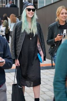 HELEN STRINGER  Occupation: Buyer  Jacket: Urban Outfitters  Dress: Monki  Bag: Comme des Garçons