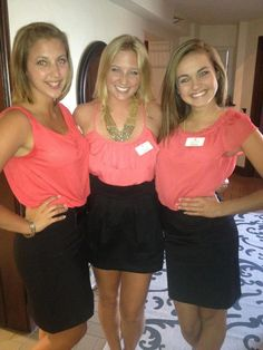 Sigma Kappa recruitment outfits. Coral shirts and black skirts, super cute. Start planning outfits for next recruitment. #SK