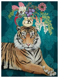 May we interest you in a flower or two? How about a paper flower from a fierce feline! Shop this and more majestic animal art from the talented Heather Gauthier. Crown Painting, Tiger Painting, Watercolor Tiger, Tiger Sketch, Tiger Drawing, Drawing Art, Flower Crown Drawing, Canvas Fabric, Canvas Prints