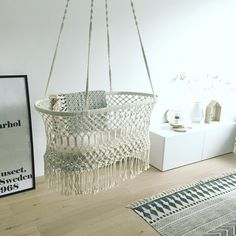 """A bassinet, bassinette, or cradle is a bed specifically for babies from birth to about four months, and small enough to provide a """"cocoon"""" that small babies find comforting. Hanging Bassinet, Hanging Cradle, Hanging Crib, Nursery Room Decor, Boho Nursery, What Baby Needs, Newborn Baby Needs, Baby Bassinet, Cat Room"""