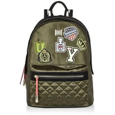 River Island Khaki badge patch backpack ($64) ❤ liked on Polyvore featuring bags, backpacks, bags / purses, khaki, women, handle bag, nylon backpack, backpack bags, nylon bag and quilted backpack