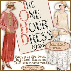 1920s 1 HOUR Dress -make Your own frock patterns DOWNTON Abbey Style - Vintage FLAPPER era e-booklet pdf