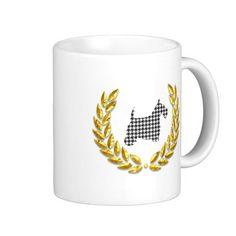 Houndstooth Scottie Gold Wreath Classic White Coffee Mug