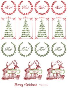 Free Printable - Vintage Christmas Stickers from the Graphic Fairy. Print on our full sheet labels.