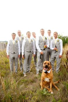groomsmen attire, but with different ties and boutonnieres