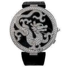 Cartier White Gold Diamond Ltd Ed Pasha de Cartier Skeleton Dragon Wristwatch