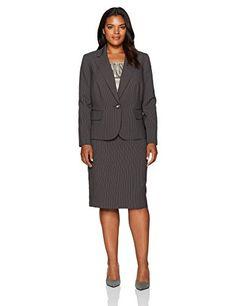 LeSuit Womens 1 Button Zipper Pocket Glazed Melange Skirt Suit Suit-Skirt Set