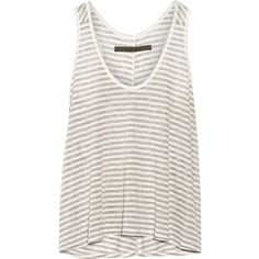 ENZA COSTA Striped jersey tank ($62) ❤ liked on Polyvore featuring tops, t-shirts, ivory, loose white tank, ivory tank top, loose tank, loose fitting tank tops and white tank top
