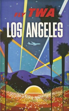 Los Angeles - Trans World Airlines Fly TWA - Hollywood Bowl - Vintage Airline Travel Poster by David Klein - Master Art Print - x Retro Airline, Airline Travel, Vintage Airline, Retro Poster, Vintage Travel Posters, Poster Poster, Party Vintage, Vintage Art, Vintage Stuff