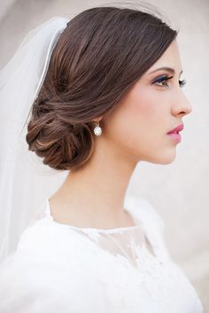 Hair and Make-up by Steph: Megan - Wedding  Allie placement of veil.  Her hair looks like yours