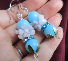 Vintage Assemblage Pink & Blue Flower Cluster Earrings~ Shabby Chic by Scentedlingerie on Etsy,