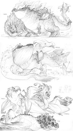 Earth, Plant and Fire by Mr--Jack— these are based on dragons from the game dragonvale Creature Concept Art, Creature Design, Creature Drawings, Animal Drawings, Fantasy Drawings, Fantasy Art, Dragon Anatomy, Dragon Sketch, Dragon Drawings