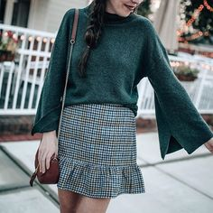 houndstooth ruffle skirt, grey mock neck sweater, fall outfit idea