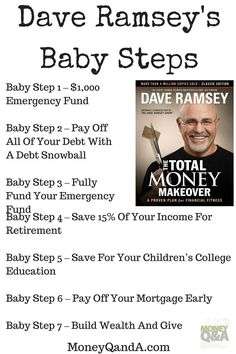 The Total Money Makeover consists of Dave Ramsey Baby Steps to build an emergency fund, get out of debt, invest, and start to gain financial independence. Here is an in-debt introduction to his baby steps to get you started. Boutique San Francisco, Financial Peace, Financial Tips, Financial Planning, Financial Quotes, Financial Literacy, Ways To Save Money, Money Saving Tips, Money Tips