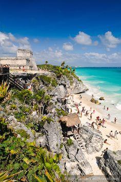 beach and Mayan ruins at Tulum on the coast of Mexico's Yucatan Peninsula