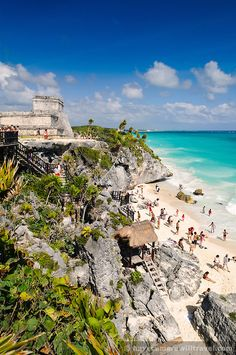 beach and Mayan ruins at Tulum on the coast of Mexico's Yucatan Peninsula