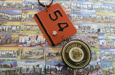 """Industrial Chic Pendants Necklace with Metal """"54"""" Plate Painted Rust + Black with Rhinestone and Brown Tin with """"Supreme 15""""& Horses Graphic"""