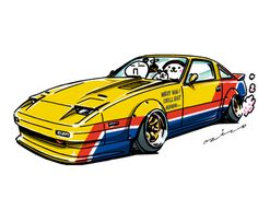 """car illustration """"crazy car art"""" jdm japanese old school """"Z31"""" original characters """"mame mame rock"""" / © ozizo """"ROCK'N ROLL"""" Line theme """"Crazy Car Art"""" Line themes """"Crazy Car Art"""" Line stickers """"Crazy car Art"""" Telegram stickers"""