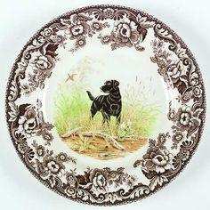 Spode Woodlands Dogs Black Lab Dinner Plate