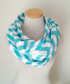 Aqua and White Chevron Infinity Skinny Scarf - Jersey Knit. $20.00, via Etsy.