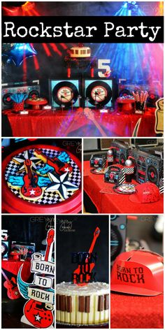 Talk about a fun rockstar boy birthday party! See more party ideas at CatchMyParty.com.
