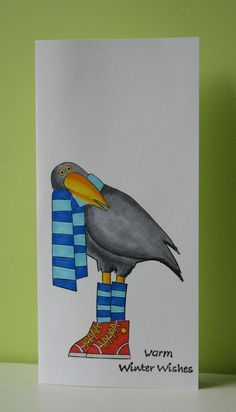 handmade card ... tall & slim card base ... luv this funny bird image ... beautiful Copic coloring ...