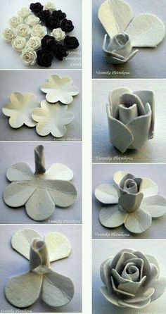 paper roses DIY though these are paper it is still an excellent tutorial on using a quick cutter method for roses - you just cut the notches into the center with a cutting wheel :-) flor em papeltutorial tanti e belli How to Make Pretty Egg Carton Fl Large Paper Flowers, Paper Roses, Felt Flowers, Diy Flowers, Fabric Flowers, Felt Roses, Wedding Flowers, Flowers Decoration, Origami Flowers