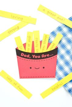 Father's Day Fry Box ⋆ Handmade Charlotte Give dad a box full of french fry l. Father's Day Fry Box ⋆ Handmade Charlotte Give dad a box full of french fry love with this printable Father's Day c Fathers Day Cards Handmade, Kids Fathers Day Crafts, Fathers Day Art, Gifts For Kids, Handmade Father's Day Gifts, Happy Fathers Day Cards, Dad Gifts, Grandparent Gifts, Diy Father's Day Gifts Easy