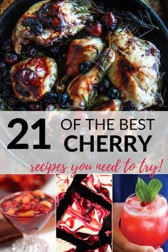 Do you love cherries? I've got your covered! These mouthwatering cherry recipes are easy and will inspire you. From pies and desserts to sauces and more, these recipes are the best. You'll find recipes for fresh, tart cherries and canned cherries. Cherry Jello Recipes, Cherry Desserts, Fun Desserts, Fun Easy Recipes, Best Dessert Recipes, Pie Recipes, Summer Recipes, Canned Cherries, Tart Cherries