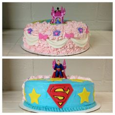 Half princess half superhero cake
