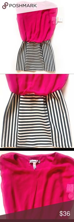 Speechless Striped Dress Classy Speechless pink blouse dress with bottom vertical black and white stripes, size 7 new with tags. Perfect for any occasion. Speechless Dresses Casual