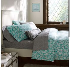 Bedding- bright blue and grey