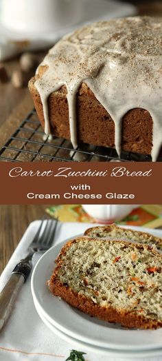 Carrot Zucchini Bread with Toasted Walnuts and a Cream Cheese Glaze
