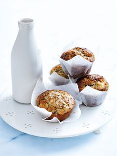 pear, yoghurt and chia muffins (self-raising flour, ⅔ cup caster sugar, LSA mix+, black chia seeds, eggs, extra virgin olive oil, Greek-style yogurt, vanilla extract, grated beurre bosc (firm) pear) / Donna Hay