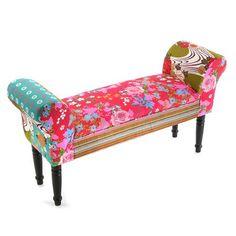 Bout de lit avec bras en patchwork 53x32x100cm