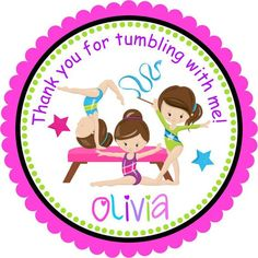 Gymnastics Party Favor Sticker, Gymnastics birthday, Personalized Gym Stickers - Set of 12