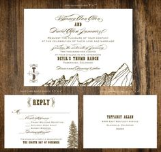 Like but not script SAMPLE  Mountain Ranch Wedding Invitation by ideachic on Etsy, $5.00