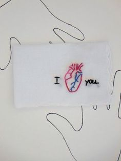 Embroidered I Love You Anatomical Heart Hankie $20