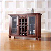 crosley cambridge sliding top bar cabinet in vintage mahogany