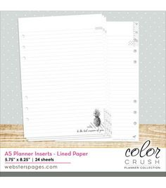 Webster's Pages Color Crush A5 Planner Lined Paper Inserts