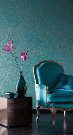 "Lucido Wallpapers ""Venezia"", teal color"