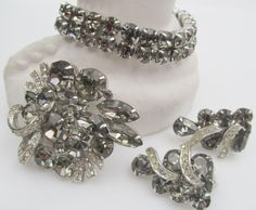 Weiss Black Diamond 1950s Bracelet, Brooch and Earring Set