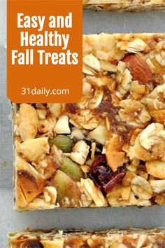 As the weather changes, kids head back to school, whether at home or away, and adults get back to work, easy and healthy fall treats are essential. We've gathered some delicious treats you'll want to try. Breakfast Recipes, Snack Recipes, Fall Treats, Granola Bars, Fall Harvest, Treat Yourself, Fall Recipes, Yummy Treats, Healthy Snacks